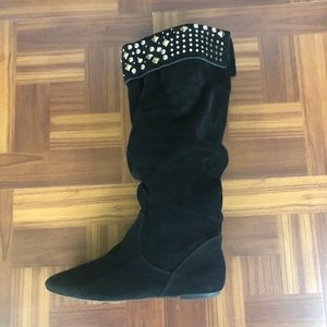 GIANNI BINI Black Suede Leather Slouch Boots